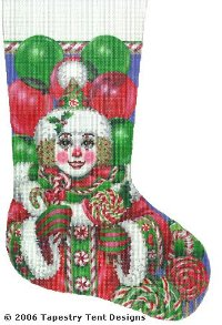 Christmas Candy Clown Hand Painted Needlepoint Stocking Canvas