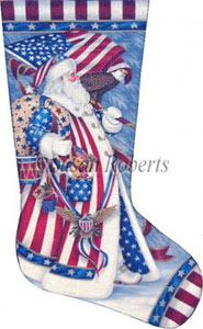 Patriotic Santa Hand Painted Needlepoint Stocking Canvas