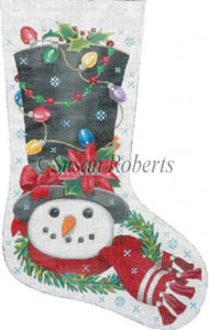 Decorated Snowman - 10 Count Hand Painted Needlepoint Stocking Canvas