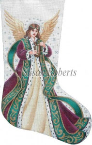Elegant Angel Hand Painted Needlepoint Stocking Canvas