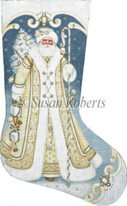 Golden Santa - 13 Count Hand Painted Needlepoint Stocking Canvas