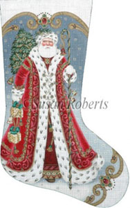 Elegant Santa - 13 Count Hand Painted Needlepoint Stocking Canvas