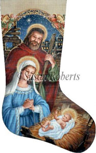 Mary, Joseph & Baby Hand Painted Needlepoint Stocking Canvas