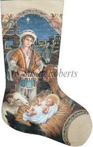 Little Drummer Boy Hand Painted Needlepoint Stocking Canvas