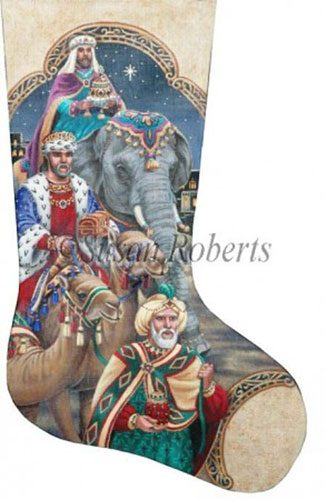 The Three Kings Hand Painted Needlepoint Stocking Canvas