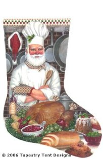 Chef Santa - 18 Count Hand Painted Needlepoint Stocking Canvas