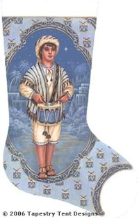 Blue Drummer Boy Hand Painted Needlepoint Stocking Canvas