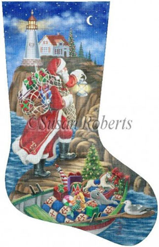 Needlepointus Lighthouse Delivery 18 Count Hand Painted