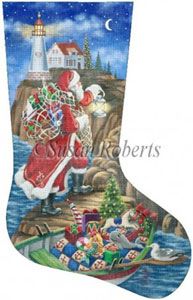 Lighthouse Delivery - 13 Count Hand Painted Needlepoint Stocking Canvas