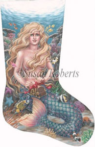 Mermaid Hand Painted Needlepoint Stocking Canvas