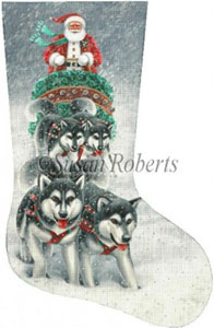 Sled Dog Santa Hand Painted Needlepoint Stocking Canvas