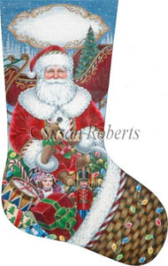 Packing the Sleigh Hand Painted Needlepoint Stocking Canvas