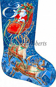 Santa Flying Through the Stars - 18 Count Hand Painted Needlepoint Stocking Canvas
