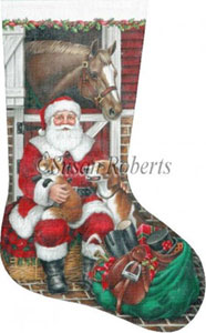 Fox Hunt Santa Hand Painted Needlepoint Stocking Canvas
