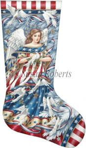 Patriotic Angel Hand Painted Needlepoint Stocking Canvas