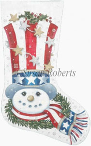 Patriotic Snowman Hand Painted Needlepoint Stocking Canvas