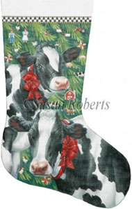 Christmas Cows Hand Painted Needlepoint Stocking Canvas