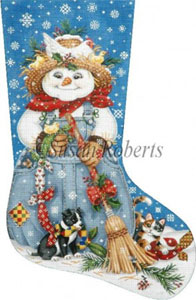 Country Snowman Hand Painted Needlepoint Stocking Canvas