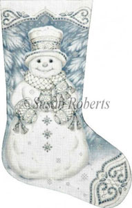 Enchanted Snowman Hand Painted Needlepoint Stocking Canvas