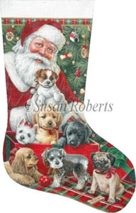 Santa & Christmas Puppies Hand Painted Needlepoint Stocking Canvas