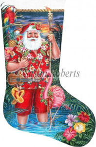Tropical Santa Hand Painted Needlepoint Stocking Canvas