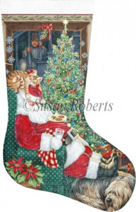 Milk, Cookie Break Hand Painted Needlepoint Stocking Canvas