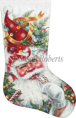 Decorated Santa Hand Painted Needlepoint Stocking Canvas