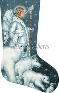 Arctic Angel Hand Painted Needlepoint Stocking Canvas