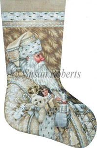 Classic Santa - 13 Count Hand Painted Needlepoint Stocking Canvas