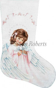 Angel and Dove Hand Painted Needlepoint Stocking Canvas