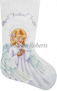 Angel and Kitty Hand Painted Needlepoint Stocking Canvas