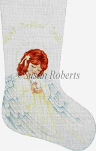 Angel and Bunny Hand Painted Needlepoint Stocking Canvas
