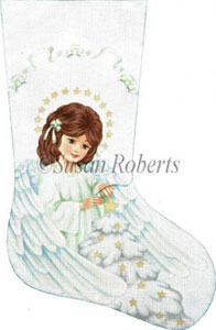 Angel and Christmas Tree Hand Painted Needlepoint Stocking Canvas