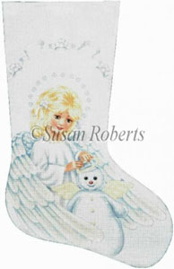 Angel and Snowman Hand Painted Needlepoint Stocking Canvas