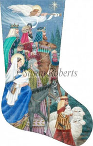 Nativity Hand Painted Needlepoint Stocking Canvas