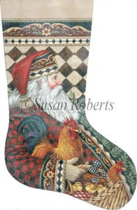 Santa and Rooster Hand Painted Needlepoint Stocking Canvas