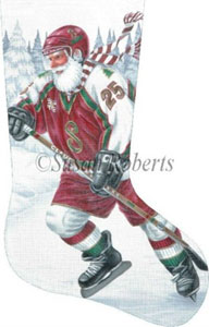 Santa Hockey Player Hand Painted Needlepoint Stocking Canvas
