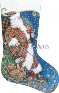 Sledding Santa Hand Painted Needlepoint Stocking Canvas