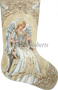 Ivory Angel - 13 Count Hand Painted Needlepoint Stocking Canvas