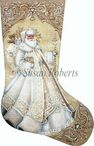 Ivory Santa - 13 Count Hand Painted Needlepoint Stocking Canvas