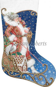 Mrs. Santa Sleds In Hand Painted Needlepoint Stocking Canvas