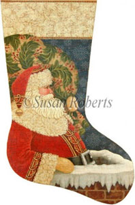Chimney Santa Hand Painted Needlepoint Stocking Canvas