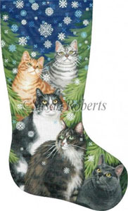 Cats and Snowflakes Hand Painted Needlepoint Stocking Canvas