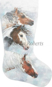 Horses in Snow Clouds Hand Painted Needlepoint Stocking Canvas