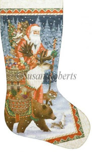 Christmas Offerings Hand Painted Needlepoint Stocking Canvas