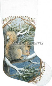 Squirrel Hand Painted Needlepoint Stocking Canvas
