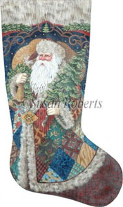 Patchwork Santa Hand Painted Needlepoint Stocking Canvas