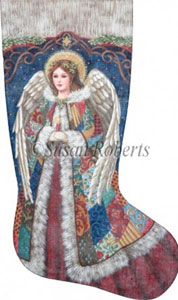 Patchwork Angel Hand Painted Needlepoint Stocking Canvas