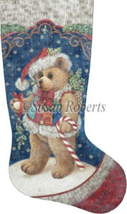 Patchwork Teddy - 13 Count Hand Painted Needlepoint Stocking Canvas
