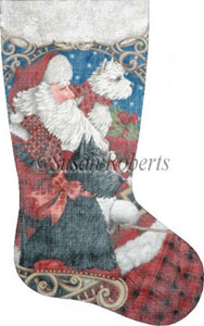 Westie, Scottie Sleigh Ride Hand Painted Needlepoint Stocking Canvas